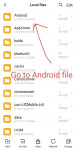 go to android file