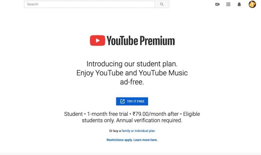 image of youtube premium