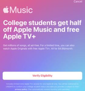 APPLE MUSIC STUDENT DISCOUNT – BRIEF INFORMATION